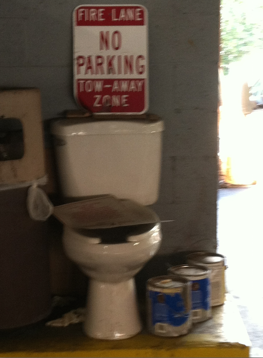 Does Anyone Know Why This Toilet is in our Parking Garage?