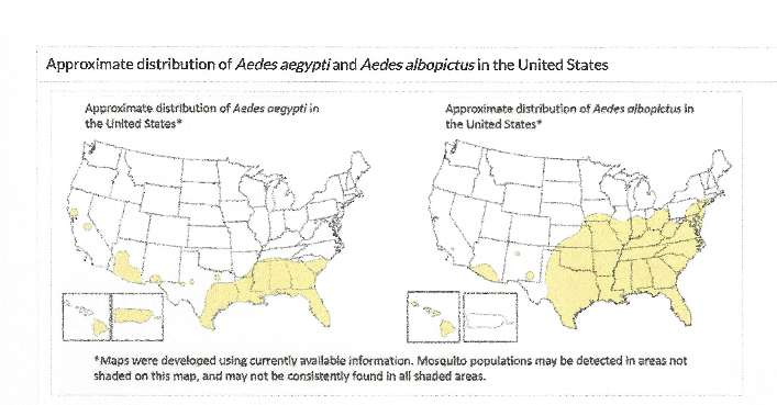 Approximate distribution of mosquito vector