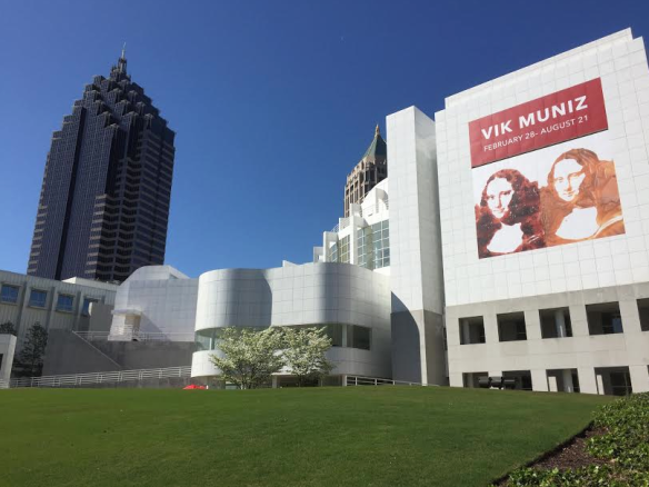 Poster on Front of High Museum is reproduction of Vik Muniz piece created from Jelly and Peanut Butter